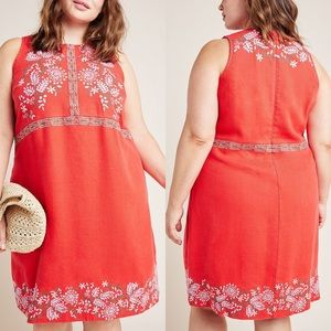 NEW Anthropologie Aiko Embroidered Shift Dress